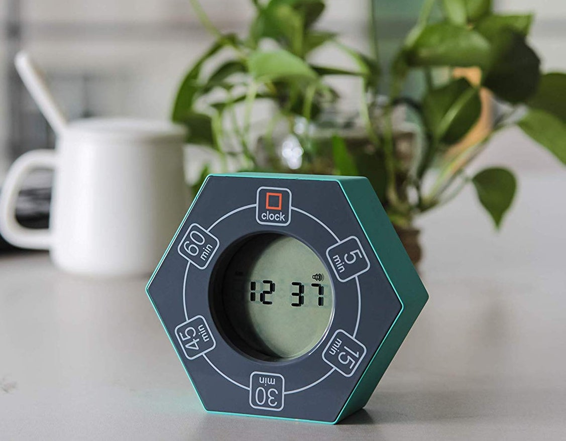 a productivity timer photographed on a kitchen counter