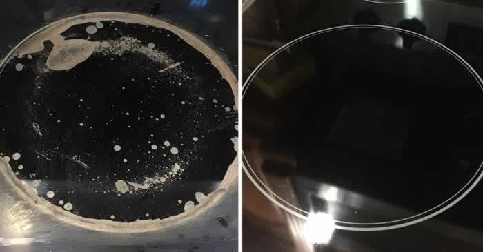 On the left, a cooktop looking dirty, and on the right, the same cooktop now looking clean after using the cleaning kit
