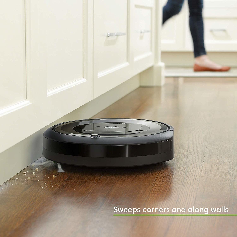 robot vacuum on kitchen floor