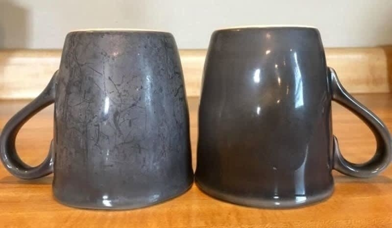 On the left, a mug looking dirty, and on the right, the same mug but after being cleaned