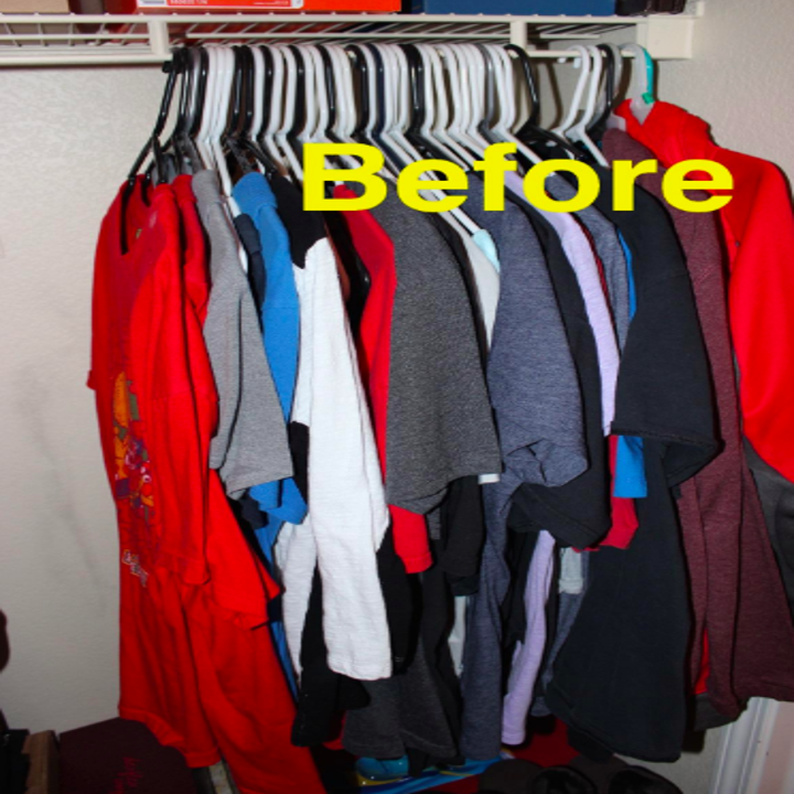 "A bunch of T-shirts on regular hangers in a closet with the text ""Before"""