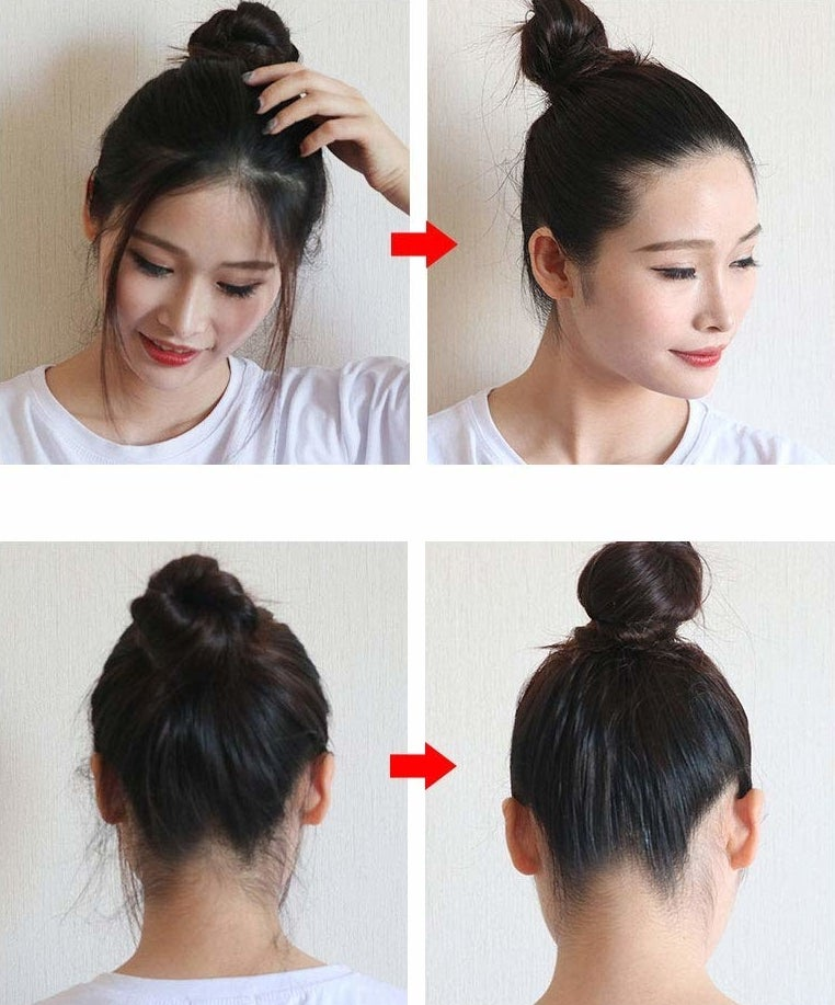 before and after pics of person with hair in bun with lots of wisps as before and slick look as after