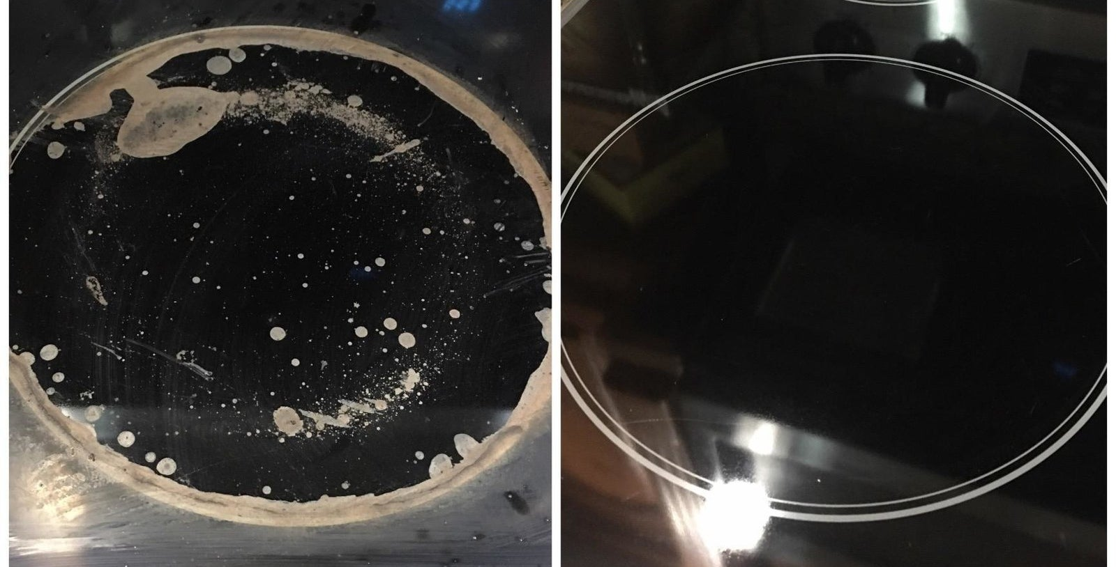 A before-and-after photo showing a dirty stovetop and a clean stovetop