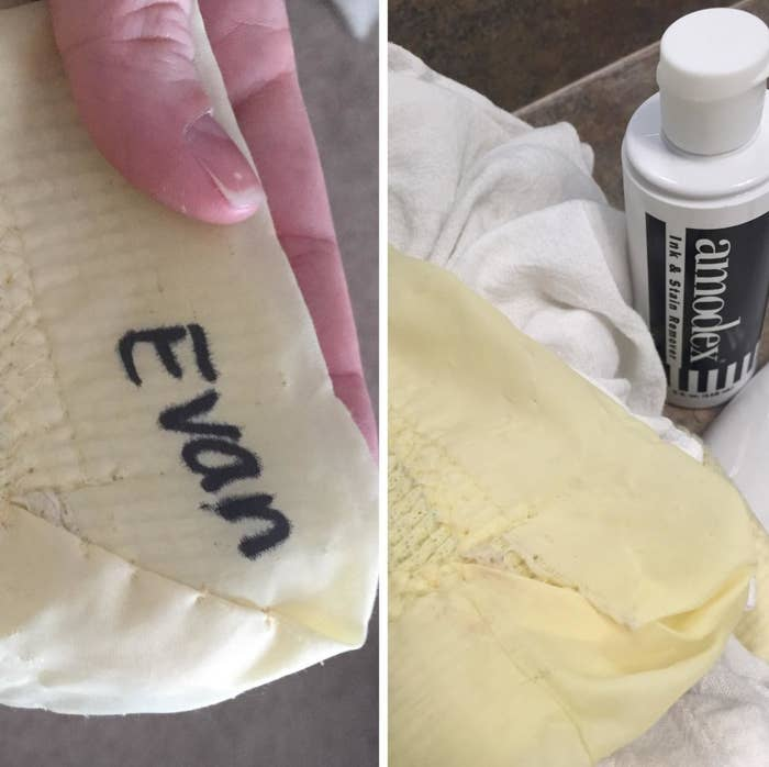 """A photo of a blanket with the word """"Evan"""" written in permanent marker next to clean version of the blanket with the permanent marker completely removed"""