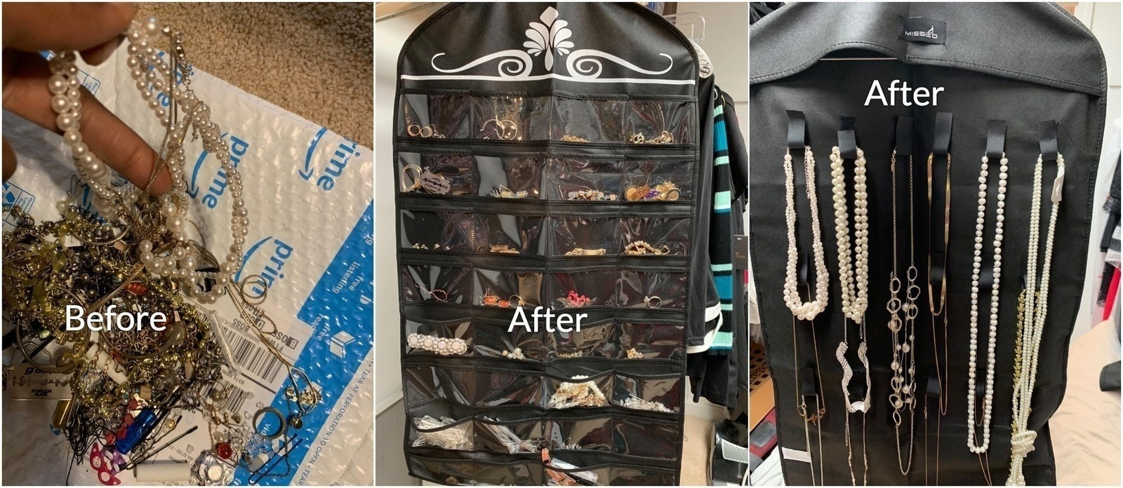Before-and-after photos showing a tangled pile of jewelry next to organized jewelry in a hanging organizer