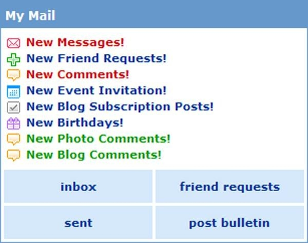 picture of myspace notifications
