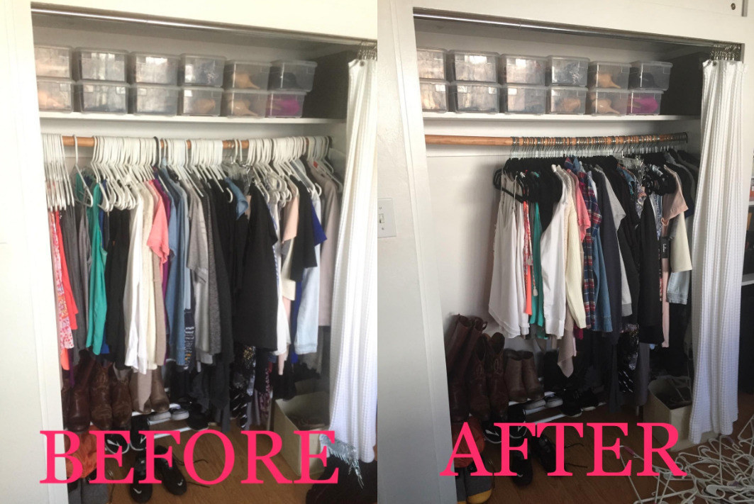A photo of a full closet using plastic hangers next to a photo of the same closet with more space when using the velvet hangers