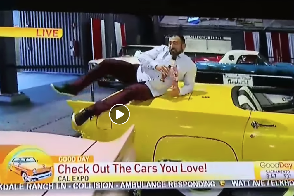 A Local TV Reporter Jumped On Cars Ahead Of An Auto Show And It's A Lot