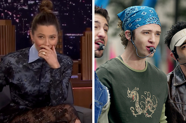 Jessica Biel Was Shown A Clip Of Her Shading Justin Timberlake And NSYNC And It's Fantastically Awkward
