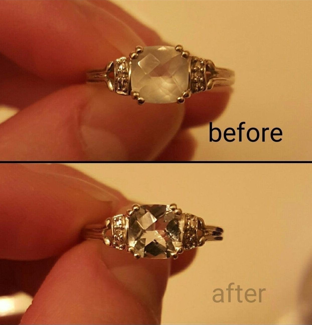 A before-and-after photo showing the results of the pen cleaner on a ring