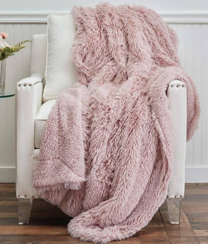the blanket draped over a chair
