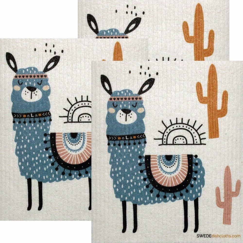 A set of llama dishcloths