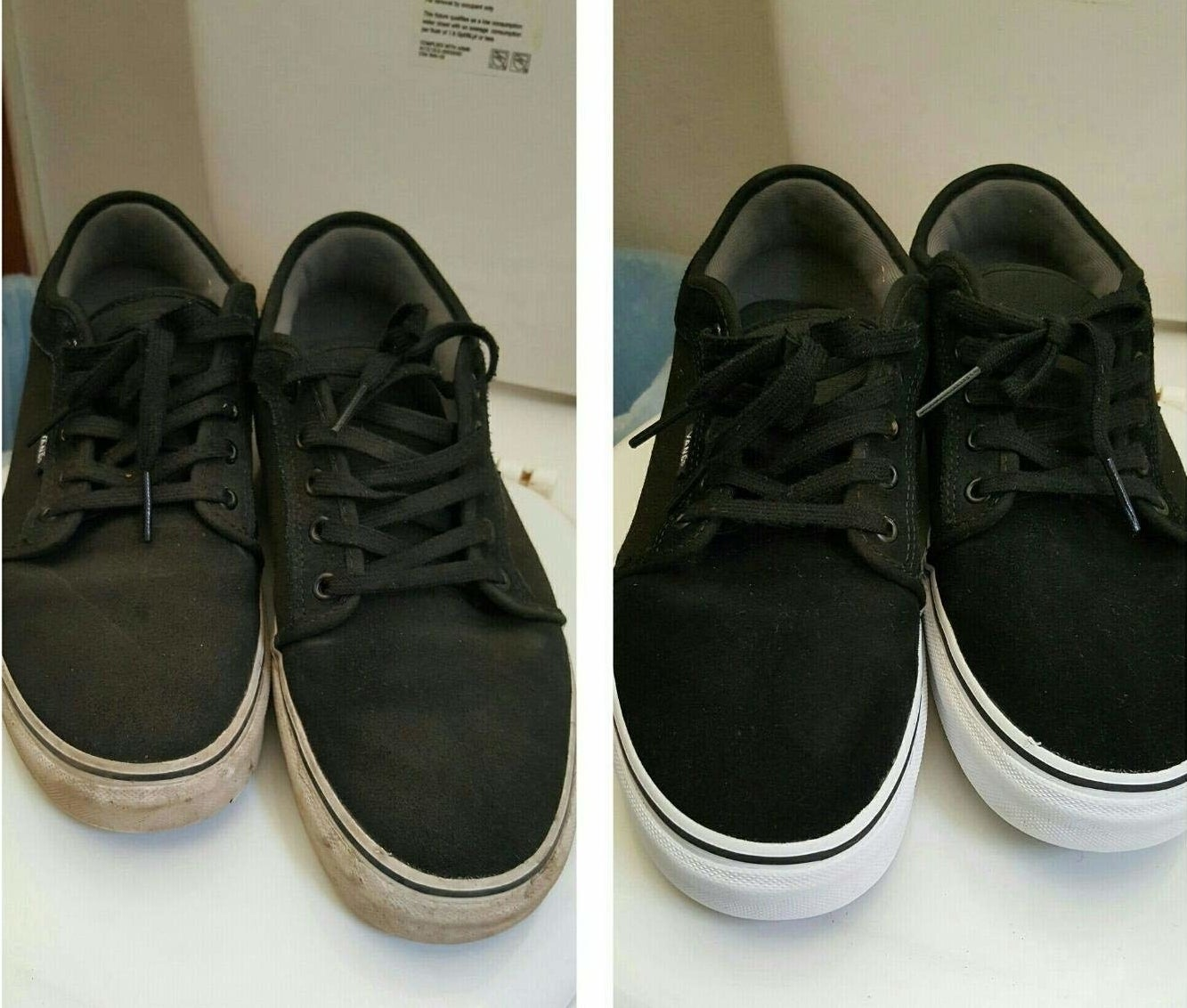 A before-and-after photo showing dirty shoes and clean shoes