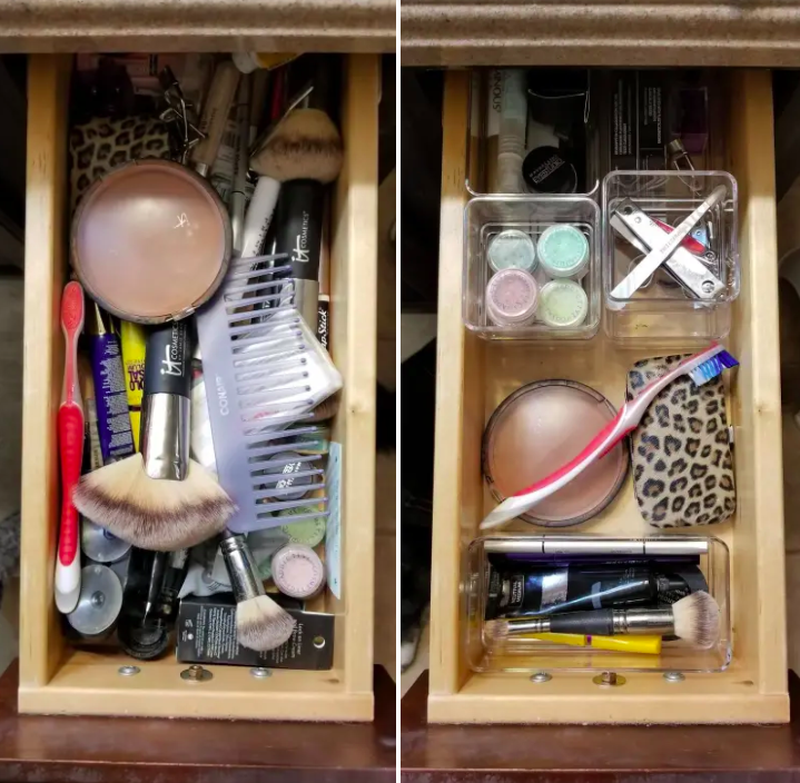 A messy, unorganized cosmetics drawer next to a neatly organized drawer with plastic bins