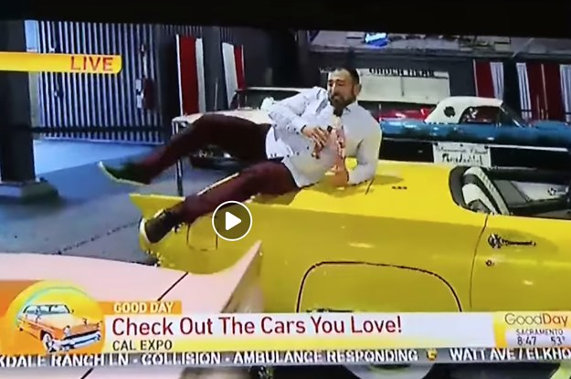 A Local TV Reporter Was Fired For Jumping On Classic Cars During A Live Segment