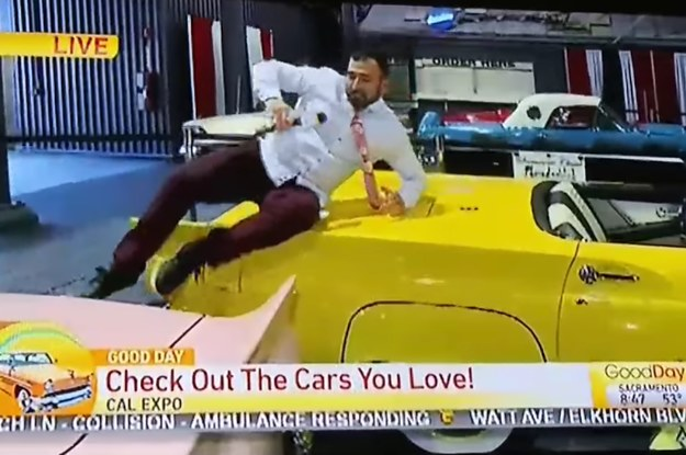 A Local TV Reporter Jumped On Cars At An Auto Show And It's A Lot