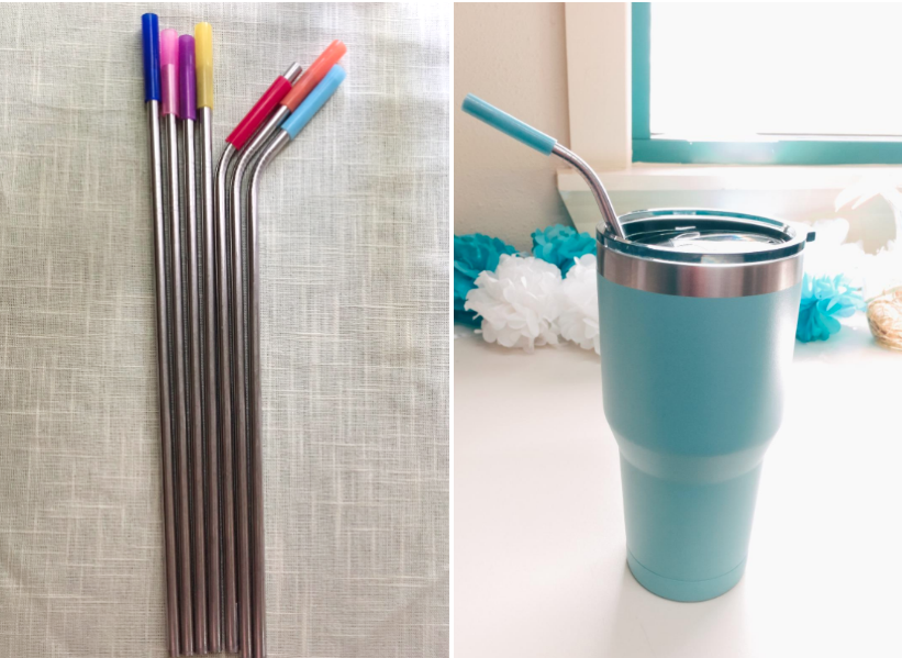Reviewer images of the straws with the silicone tips attached, and one placed in a tumbler