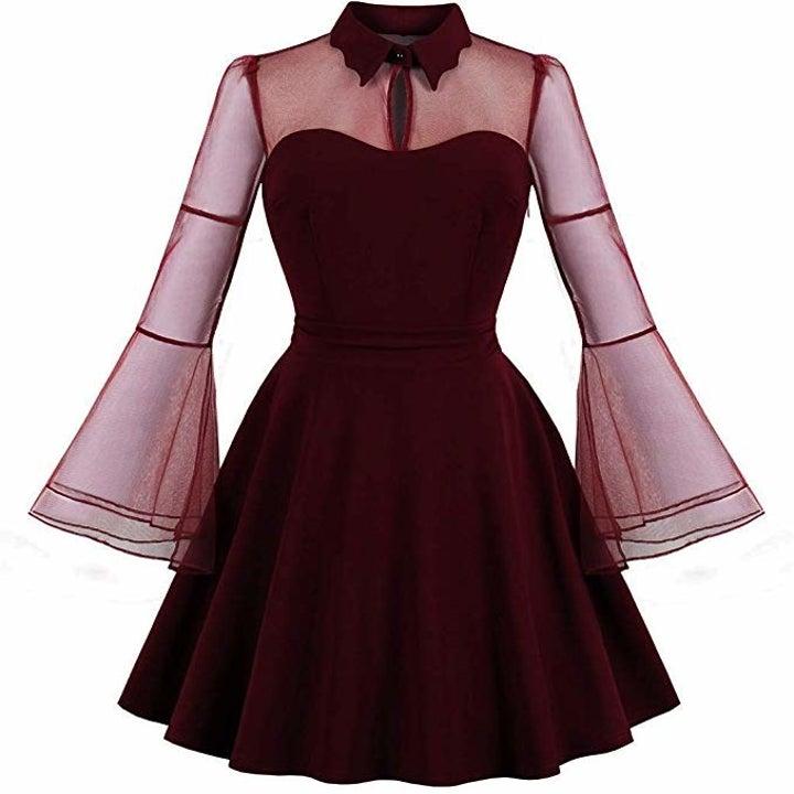 the dress in burgundy
