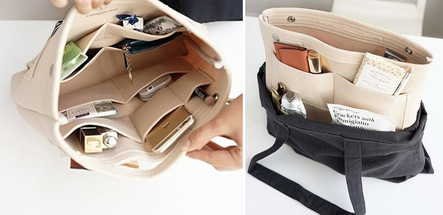 Two images of the felt organizer outside of bag showing the various compartments, and then another with the organizer in a tote bag