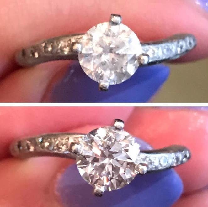 a reviewer's before photo of a dull ring and after photo of the shiny ring