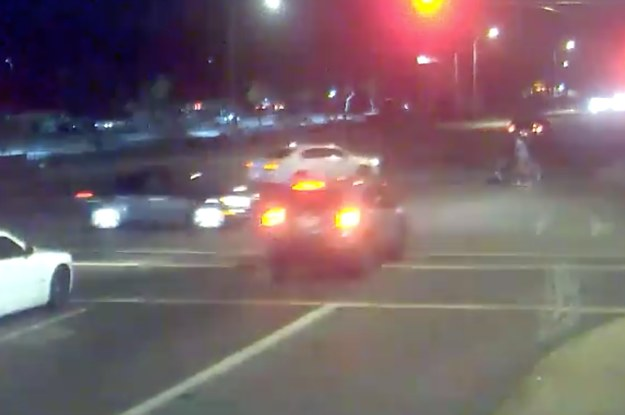 A Car Slammed Into A Drunk Driver Running A Red Light, Protecting A Couple Pushing A Stroller
