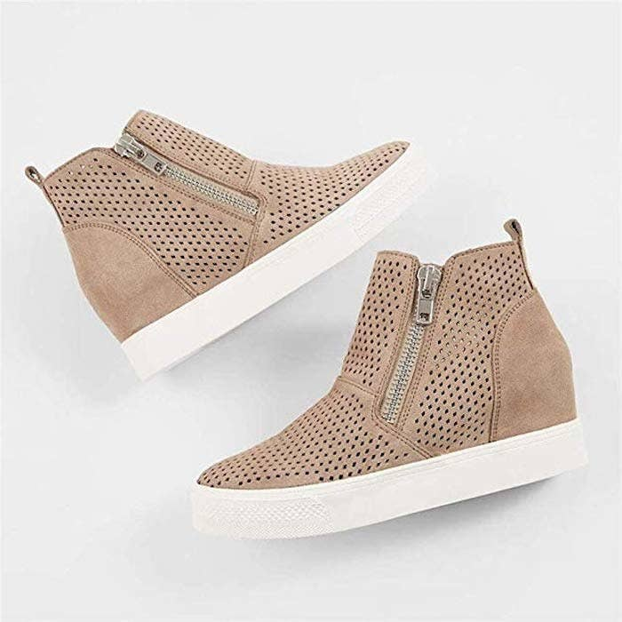 sneakers with a wedge heel and a white sole
