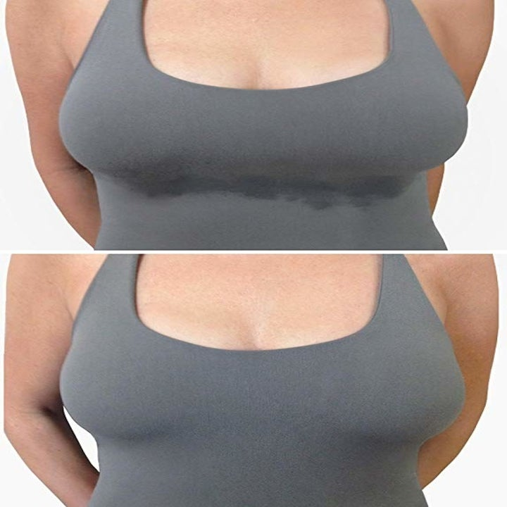 Before and after showing a chest with under-boob sweat