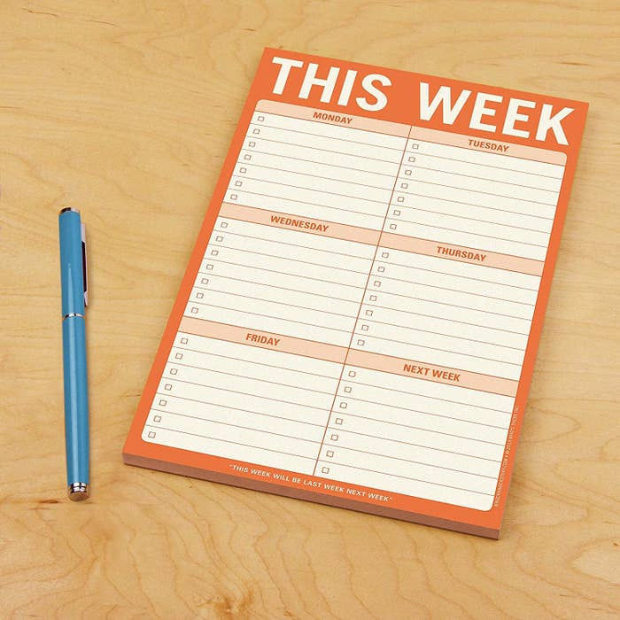 The planning pad with space to jot down tasks for Monday through Friday and the following week