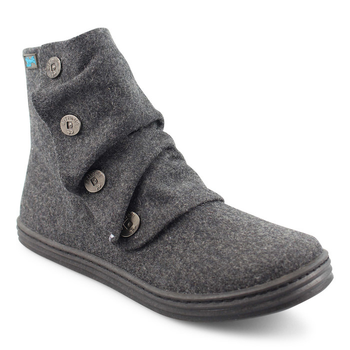 gray suede ankle boot with a sneaker-like sole and round toe. it has buttons traveling up one side.