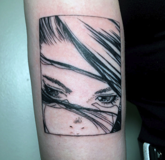 "A cartoon tattoo panel from ""Battle Angel Alita"""