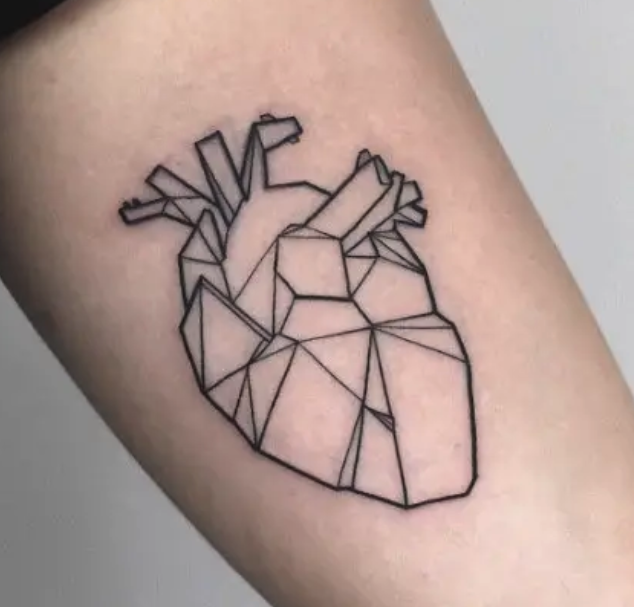 A 3-D tattoo of a human heart