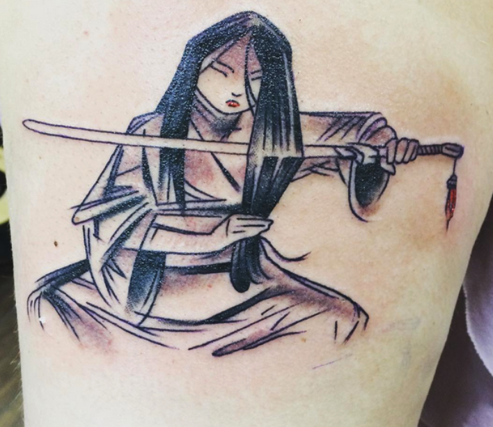 A concept art tattoo of Mulan