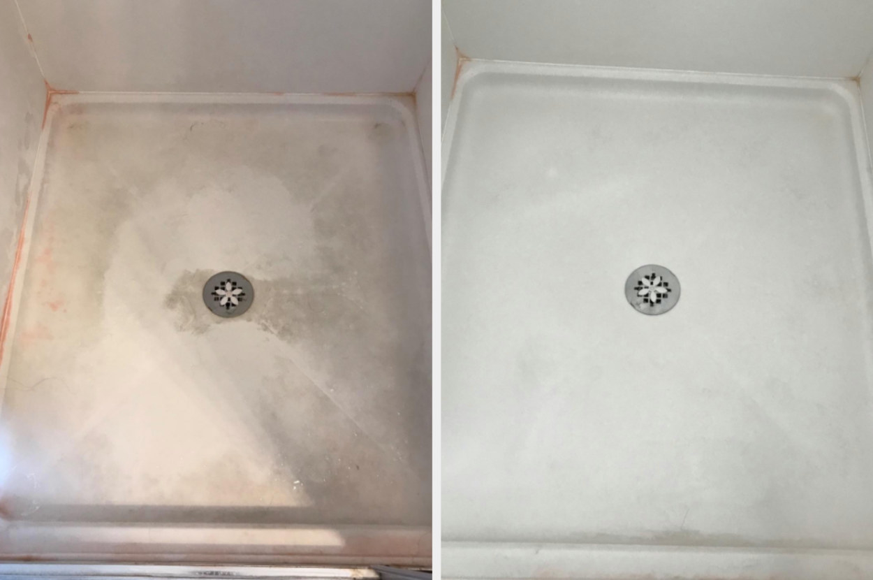 On the left, a reviewer's shower floor looking dirty, and on the right, the same reviewer's shower floor now looking clean after using the cleaning kit