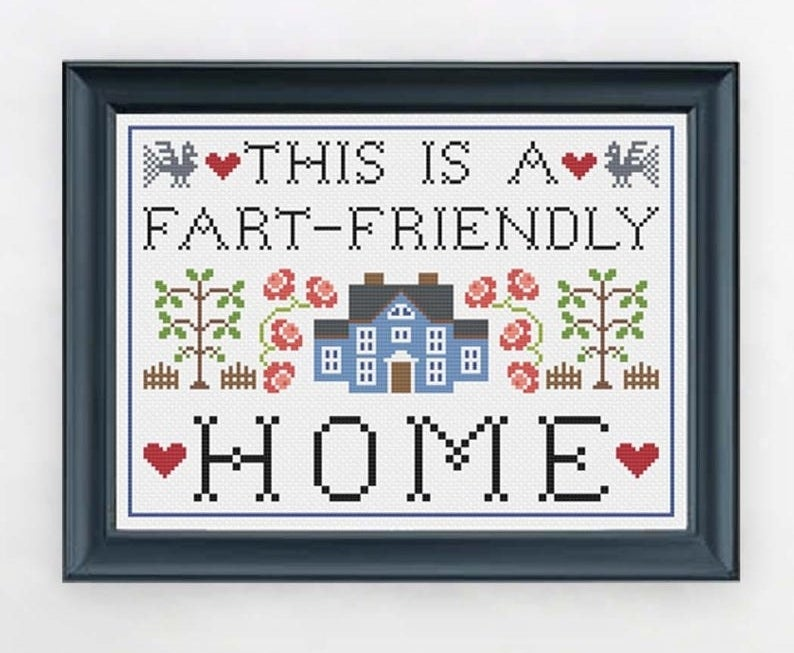 """cross stitch desing that reads """"this is a fart-friendly home"""" with plants, hearts, birds, and a house"""