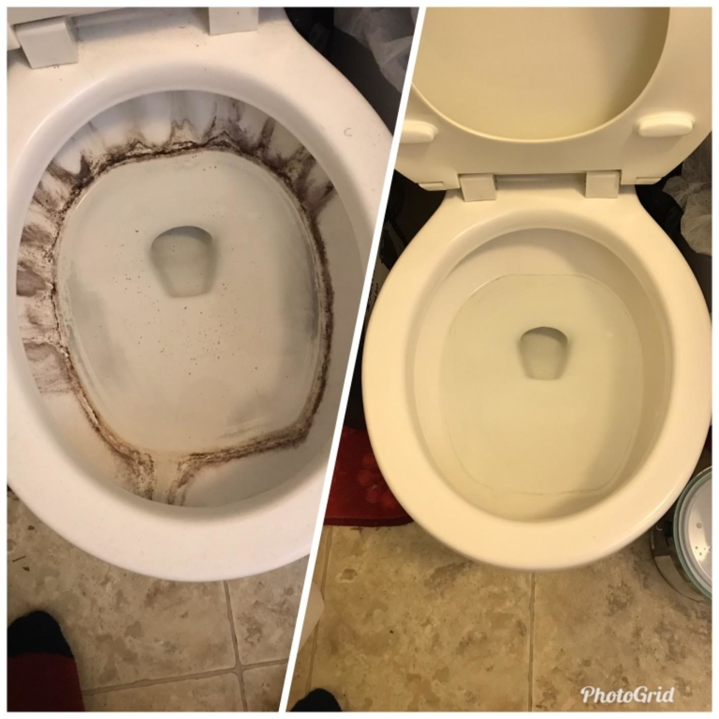 reviewer's before-and-after photo of a toilet with brown stains in it compared to the same toilet with all of the stains gone