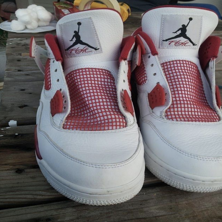 reviewer's before photo of mostly white air jordans