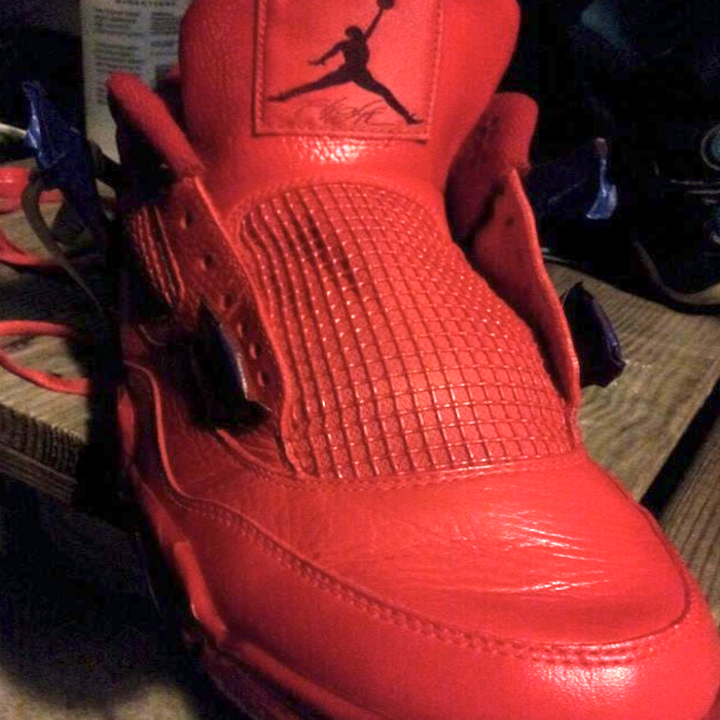 reviewer's same shoes painted all red