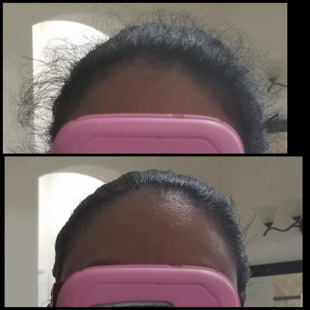 A reviewer's before/after of a ponytail with flyaways, and then all the flyaways smoothed back