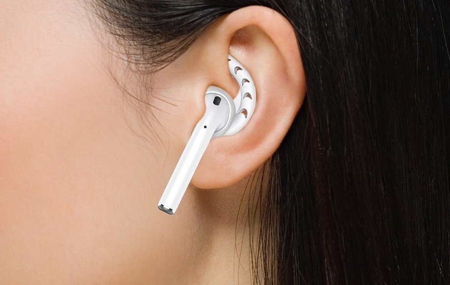 An earpod tip on an AirPod in someone's ear