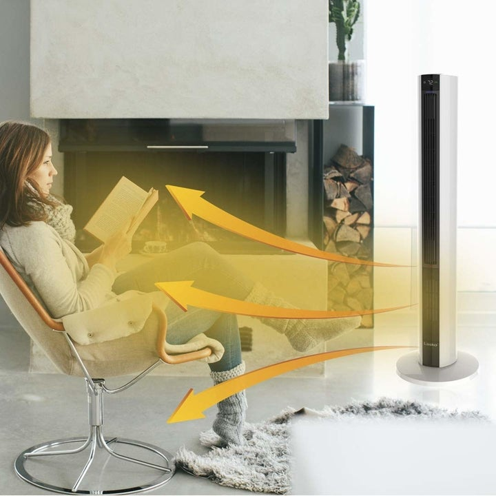 a graphic showing how the tall standing heater/fan disperses air