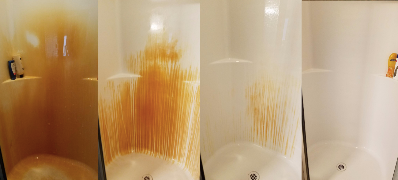 before and after showing dark orange stained shower becoming clean