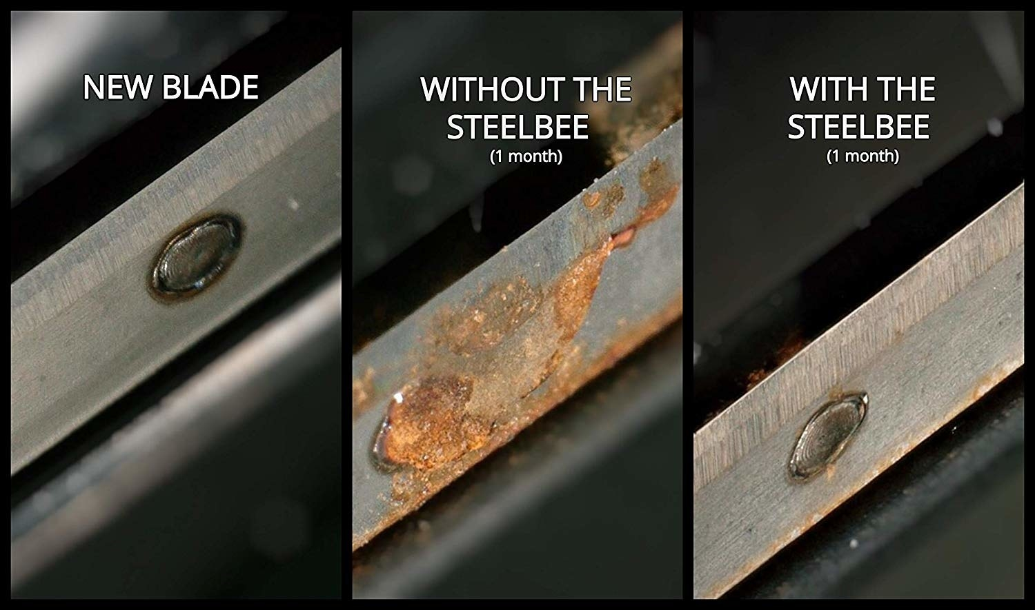 A three-image collage: new blade (clean), blade without the Steelbee (after one month with rust on it), blade with the steelbee (1 month, no rust)