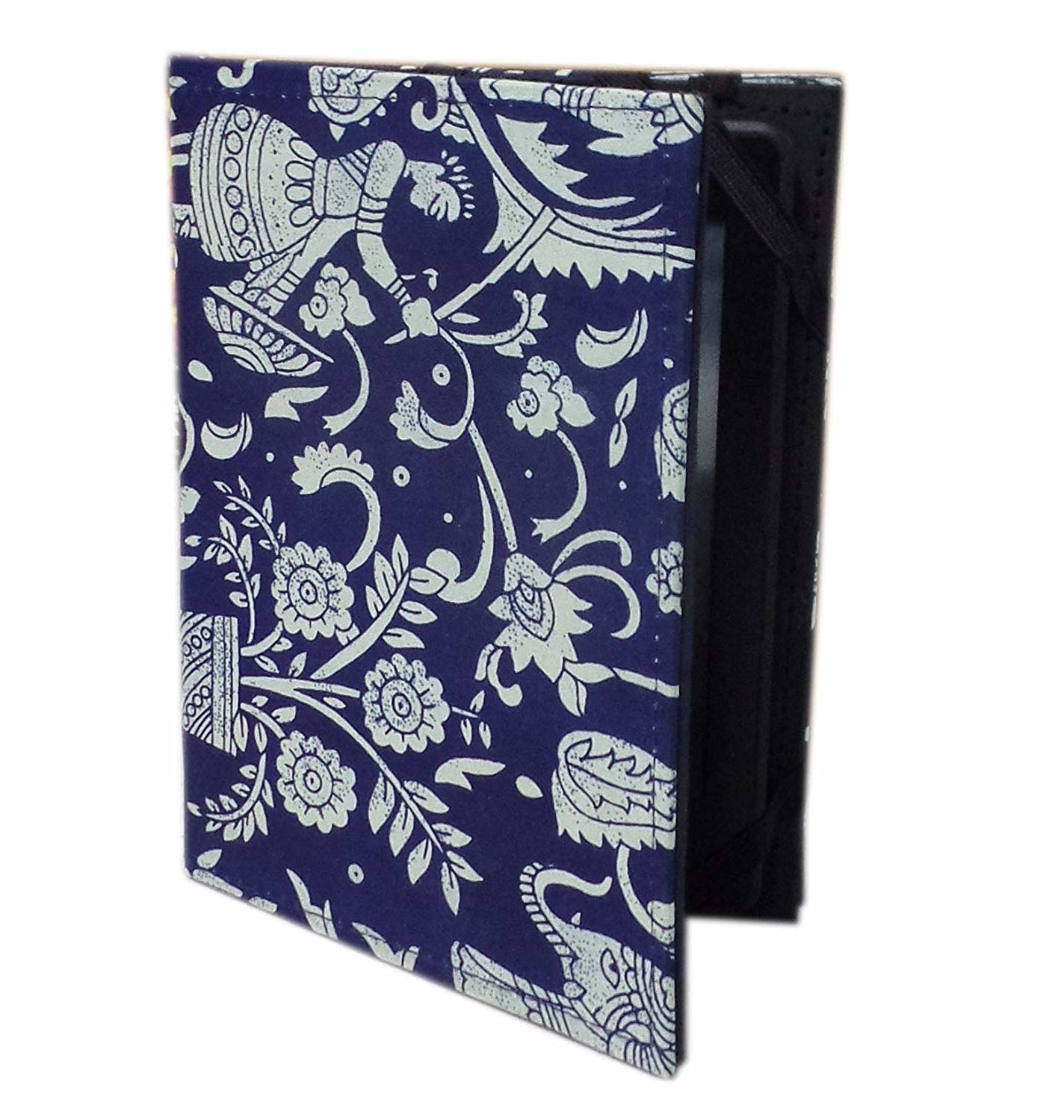 A Kindle with blue book cover on it.