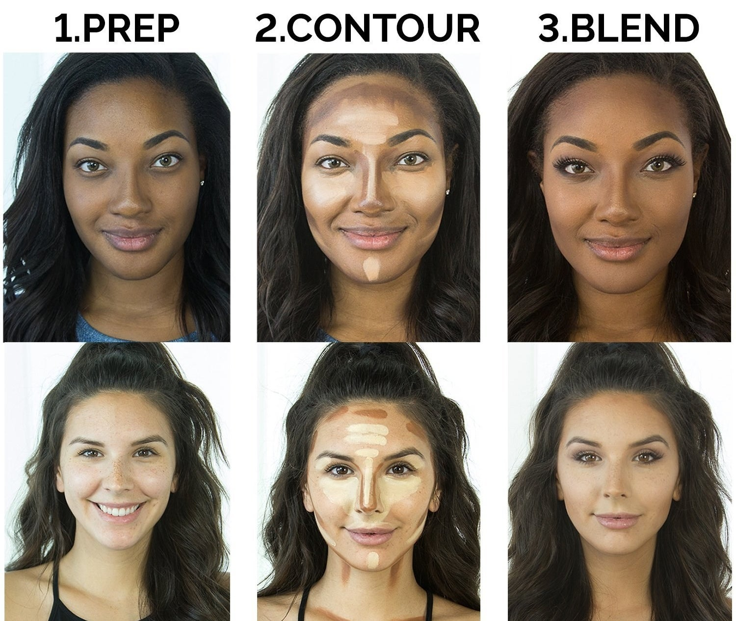 photos of two models before and after using the contour kit
