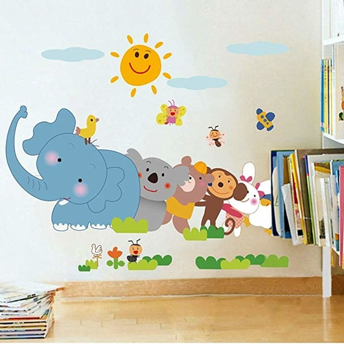 Wall decal of animated animals.