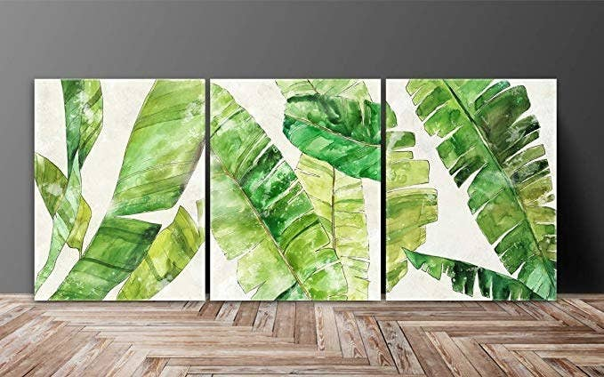 White paintings with a tropical leaf print.
