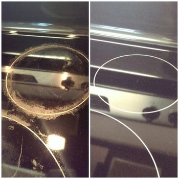 Before and after of reviewer's crusted stovetop looking shiny and clean thanks to the cleaner