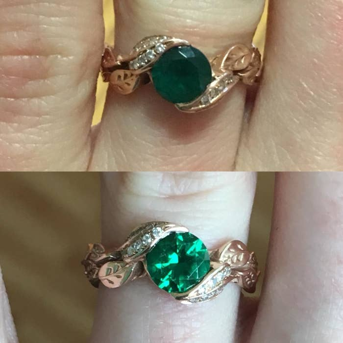 Reviewer before and after image of a dulled ring made shiny again