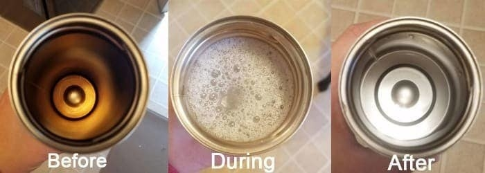 Progression photo showing a stained mug, the mug with foaming liquid inside, and the mug after it's been cleaned looking shiny and brand new