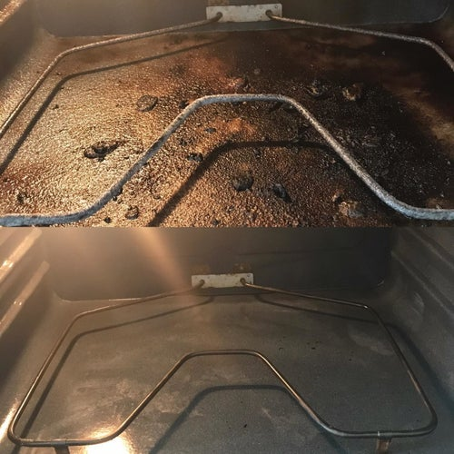 Reviewer's before and after photos of their dirty oven caked in burned food looking clean and brand new
